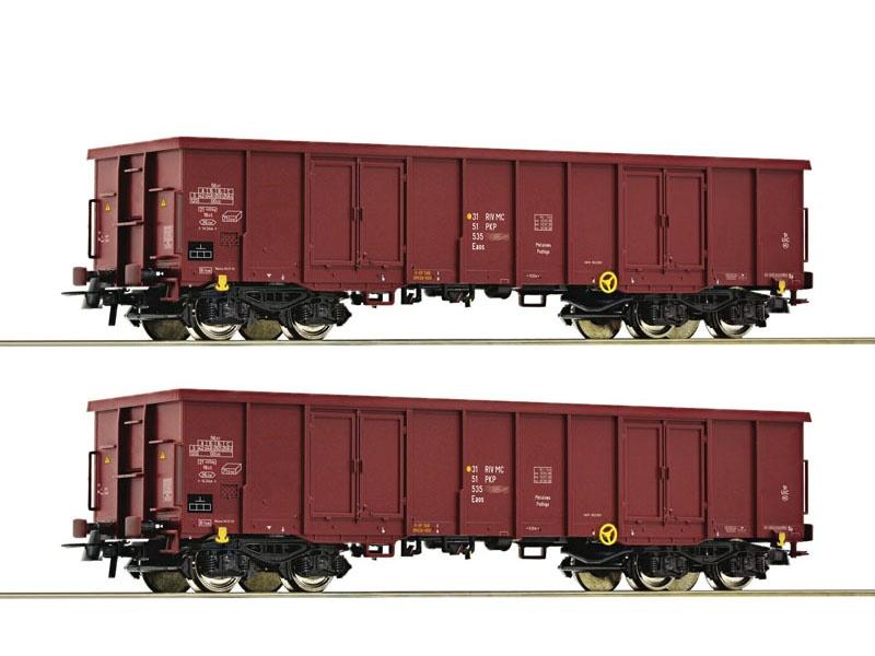2-tlg. Set: Offene Güterwagen der PKP, DC, Spur H0
