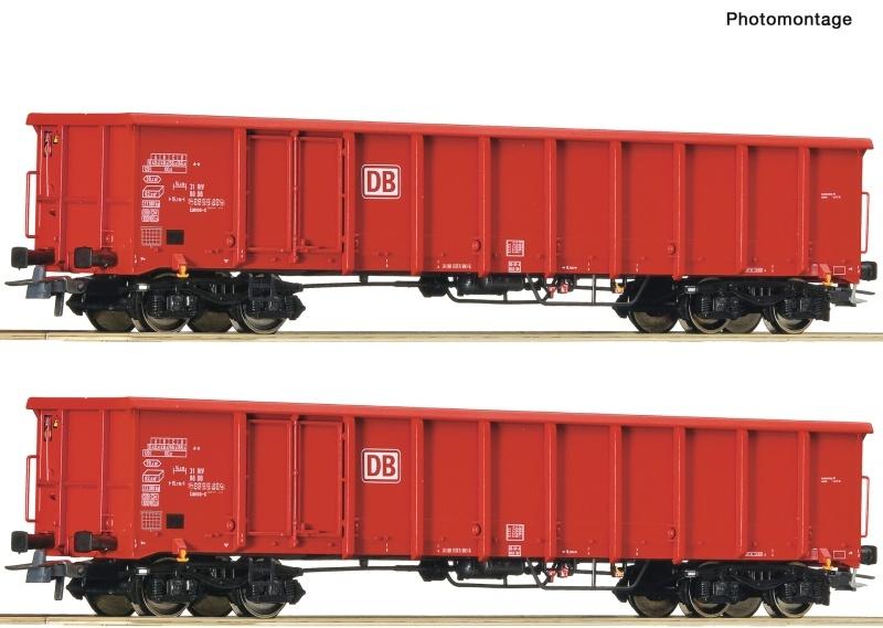 2-tlg. Set Offene Güterwagen Eanos-x 055 der DB AG, DC, H0
