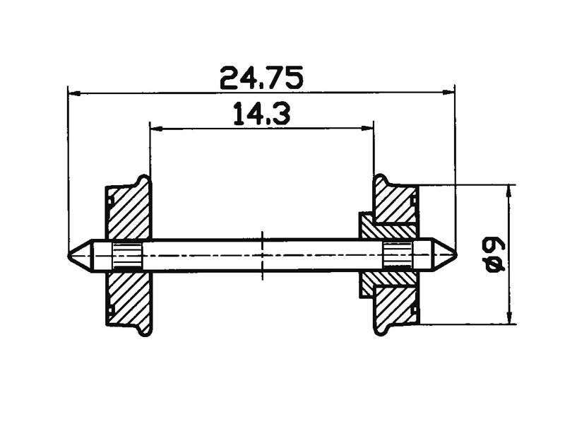 RP-25-Radsatz 9mm einseitig isoliert H0