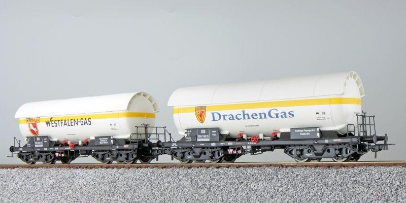 Gas-Kesselwagen Set ZAG 620, Westfalengas, DB, weiß, DC, H0