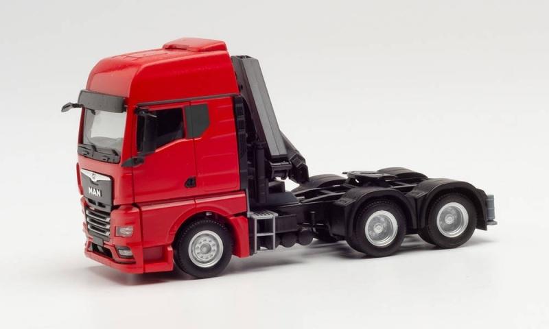 MAN TGX GX 6X4 Zugmaschine mit Ladekran, rot, 1:87 / Spur H0