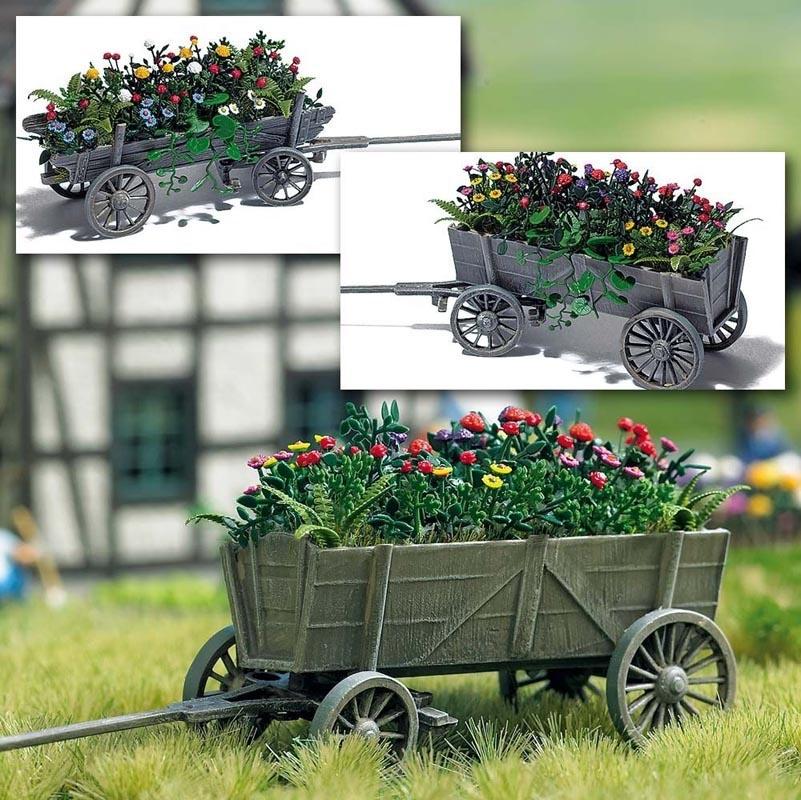 Holzwagen mit Blumen Bausatz, Spur H0