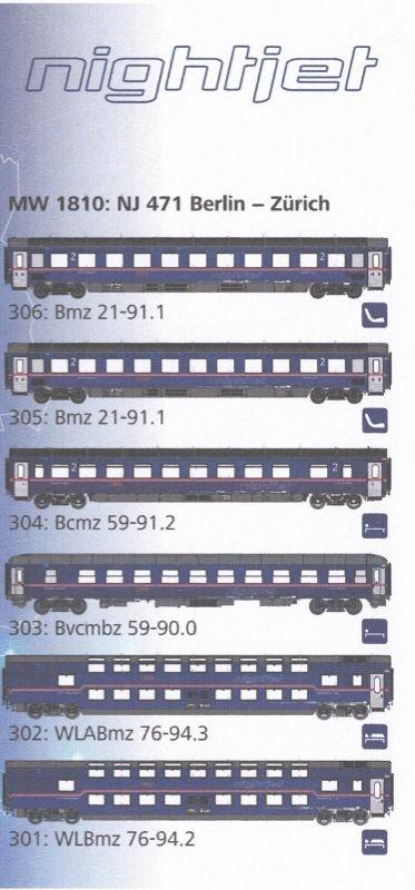 Personenwagenset Nightjet der ÖBB, Berlin-Zürich, Spur H0