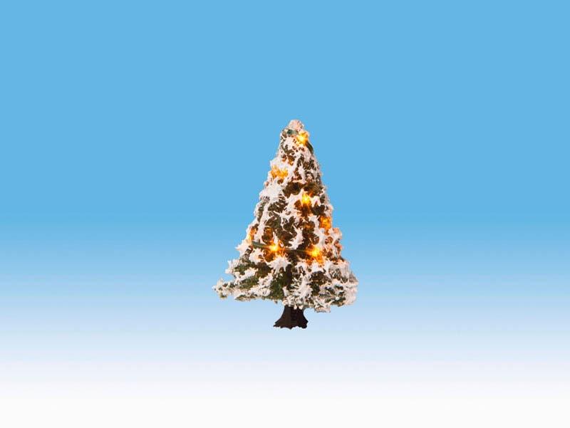 Beleuchteter Weihnachtsbaum mit 10 LEDs, verschneit, 5 cm