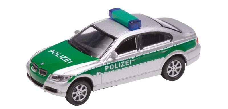 BMW 330i Polizei, silber, Fertigmodell, Spur H0