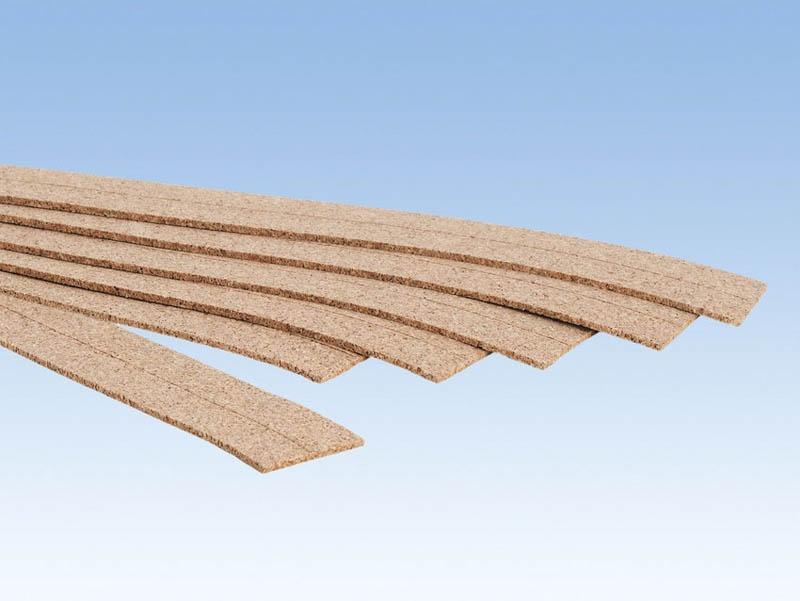 Kork-Gleisbettung, 3 mm hoch, 6 Stück Spur H0