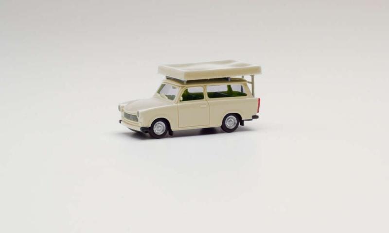 Trabant 601 Universal mit Dachzelt, perlweiß, 1:87 / H0