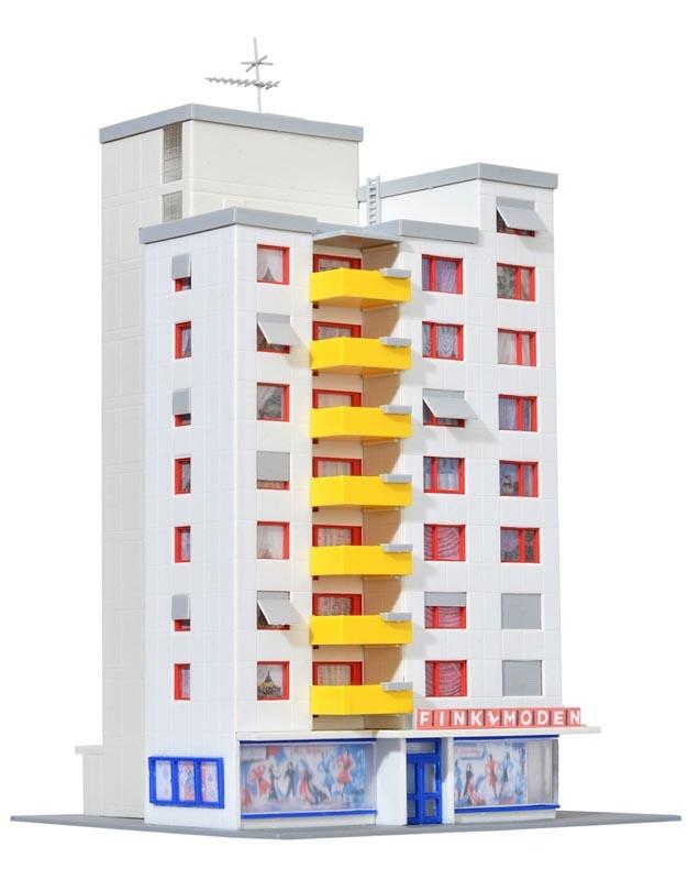 Hochhaus mit Ladengeschäft, Bausatz, Spur N