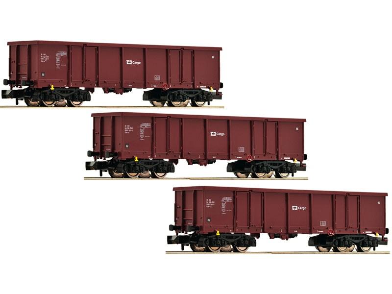 3-tlg. Set offene Güterwagen Bauart Eas, CD, DC, Spur N