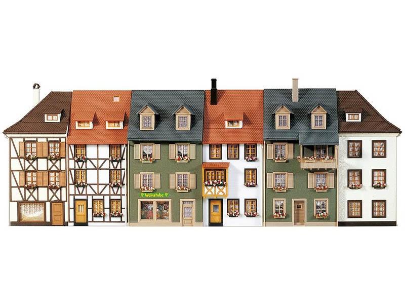 6 Reliefhäuser Bausatz H0