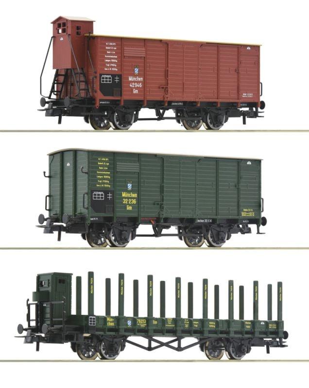 3-tlg. Set: Güterwagen der K.Bay.Sts.B., DC, Spur H0