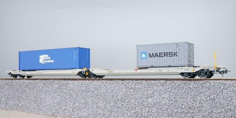 Taschenwagen Sdggmrs NL-AAEC + Container TKRU/MRKU, DC, H0