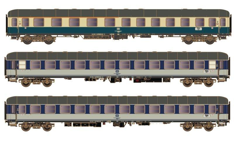 3 tlg. Set 1 Personenwagen D1284 Dolomiten-Express, DC, H0