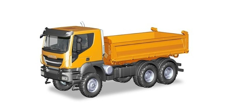 Iveco Trakker 6x6 Baukipper-LKW, orange, 1:87 / H0