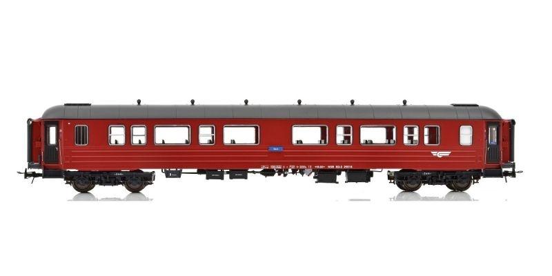 Topline Personenwagen B3-2 Type 3 der NSB, Rot/Schwarz, H0