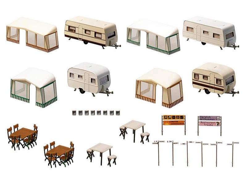 Camping-Wohnwagen-Set Bausatz H0