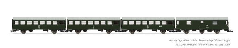 4-tlg. Set Reko-Wagen, 3x 2-achs.Wagen + 1 Postwagen, DR, TT