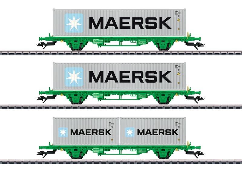 Containertragwagen-Set Lgns der SJ, AC, Spur H0