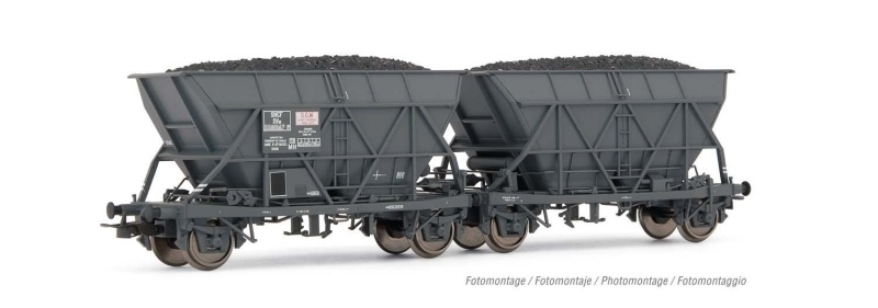 2-tlg. Set Schwenkdachwagen EF60 SGW, SNCF, DC, Spur H0