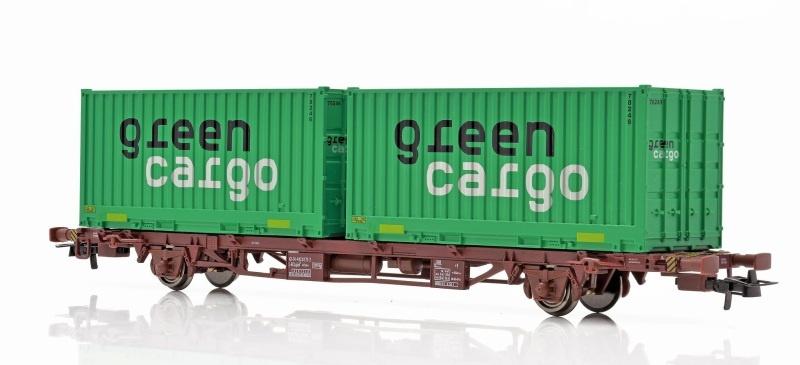 Topline Tragwagen Lgjns mit 2 Green Cargo Containern, H0