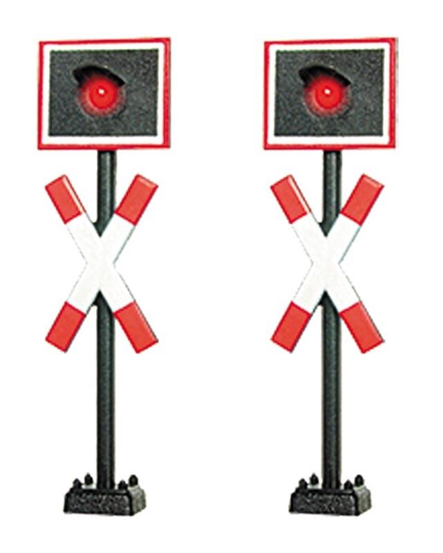 Andreaskreuze, mit LED, 2 Stück, Spur N