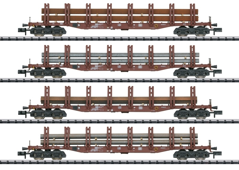 Güterwagen-Set Stahltransport DB, Minitrix Spur N