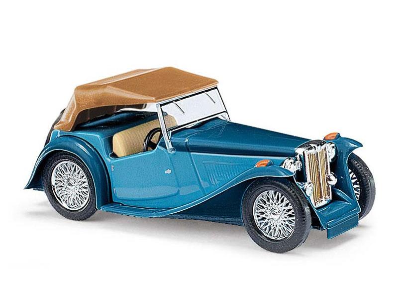 MG Midget TC, Cabrio zweifarbig, Blau, Spur H0