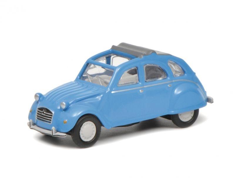 Citroën 2 CV mit geöffnetem Verdeck, blau, 1:87 / Spur H0