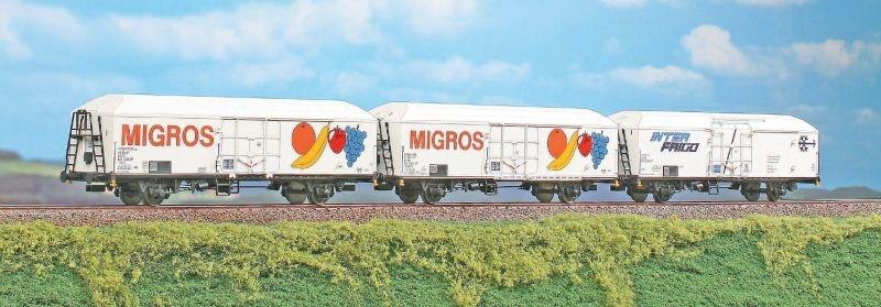 Isotherm-Güterwagen MIGROS der FS, 3er-Set, Ep.V, Spur H0