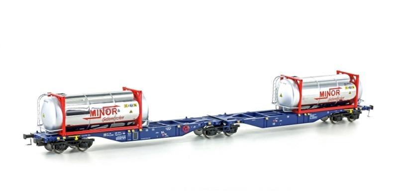 Containertragwagen Sggmrss 90 blau der ERR, DC, Spur H0