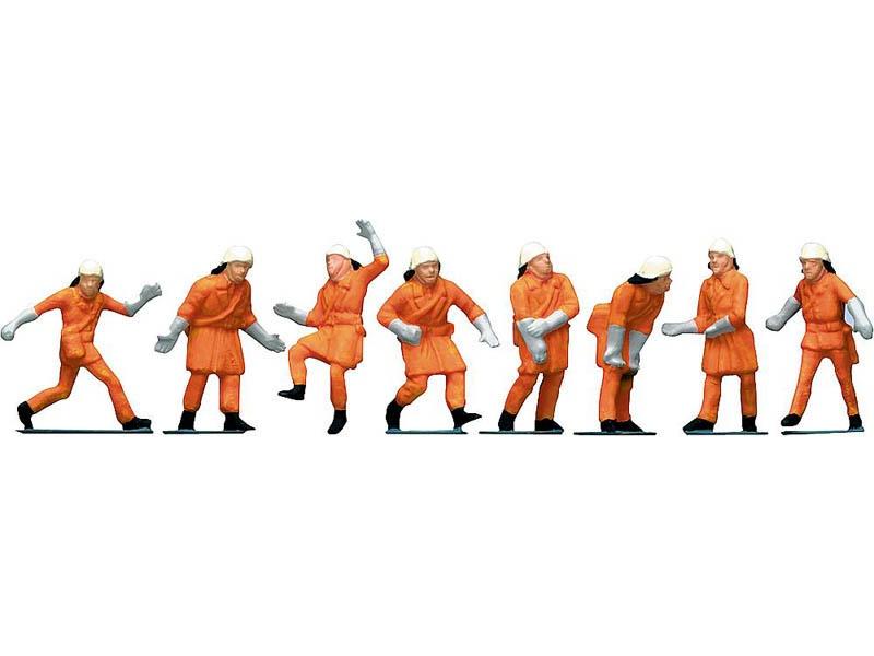 Feuerwehrleute, Uniform orange 8 Figuren H0