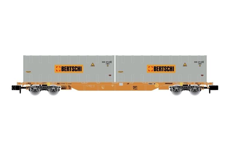 4-achs. Containerwagen der WASCOSA, 2 Container Bertschi, N