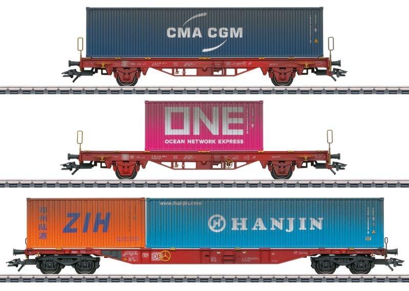 Containerwagen-Set Lgs 580 der DB AG, AC, Spur H0, MHI