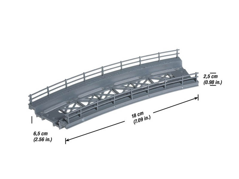 Brücken-Fahrbahn, gebogen, Radius 360 mm Spur H0