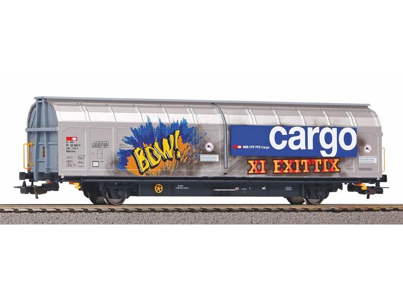 Großraumschiebewandwagen Hbbillnss SBB mit Graffiti, DC, H0
