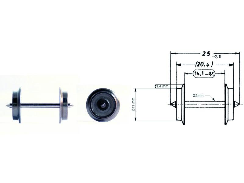 Wechselstrom-Tauschradsatz 25 mm H0