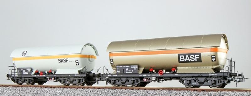 Gas-Kesselwagen Set ZAG 620, DB, EVA+BASF, weiß, DC, Spur H0