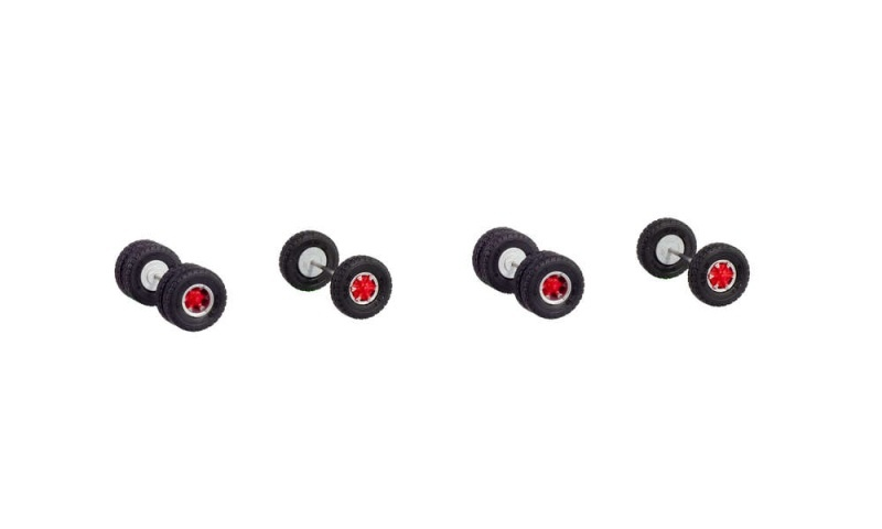Trilexfelgen mit Straßenreifen für 2 Zugmaschinen, 1:87 / H0