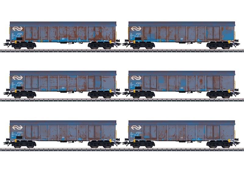 Hochbordwagen-Set Holzhackschnitzeltransport der NS, AC, H0