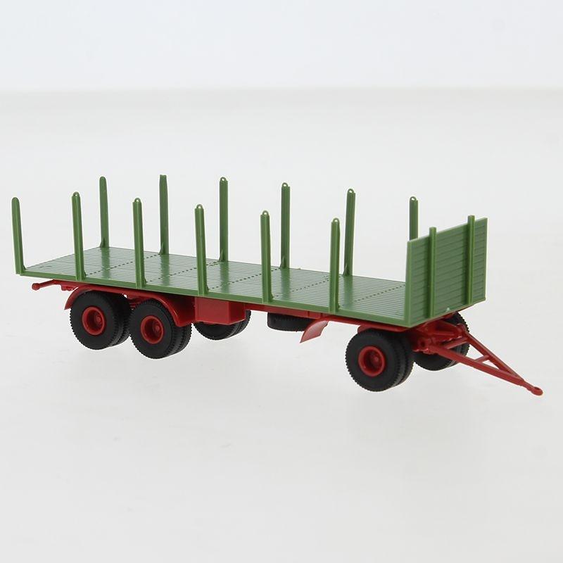 Anhänger 3-achs. Rungen, grün/rot, 1955, 1:87 / H0