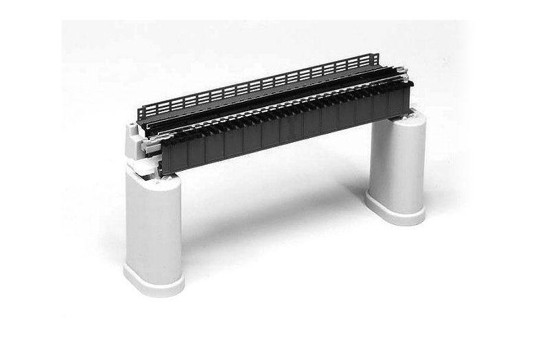 Blech verkleidete Trägerbrücke grau, 1-gleisig, 124mm,Spur N