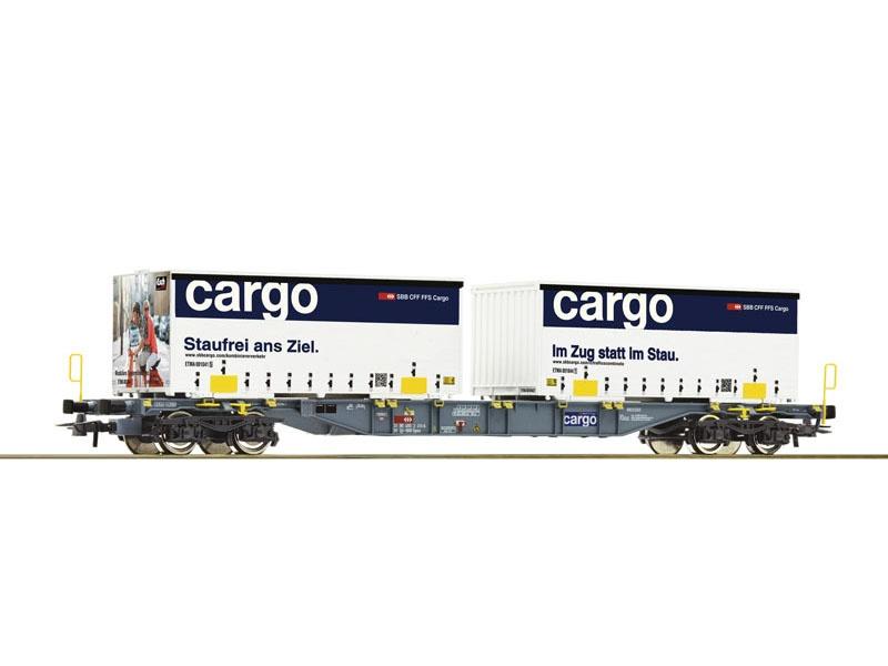 Containertragwagen der SBB + Container, DC, Spur H0