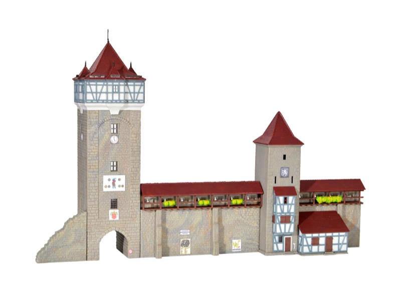 Stadtmauer mit Fachwerkturm, Bausatz, Spur N