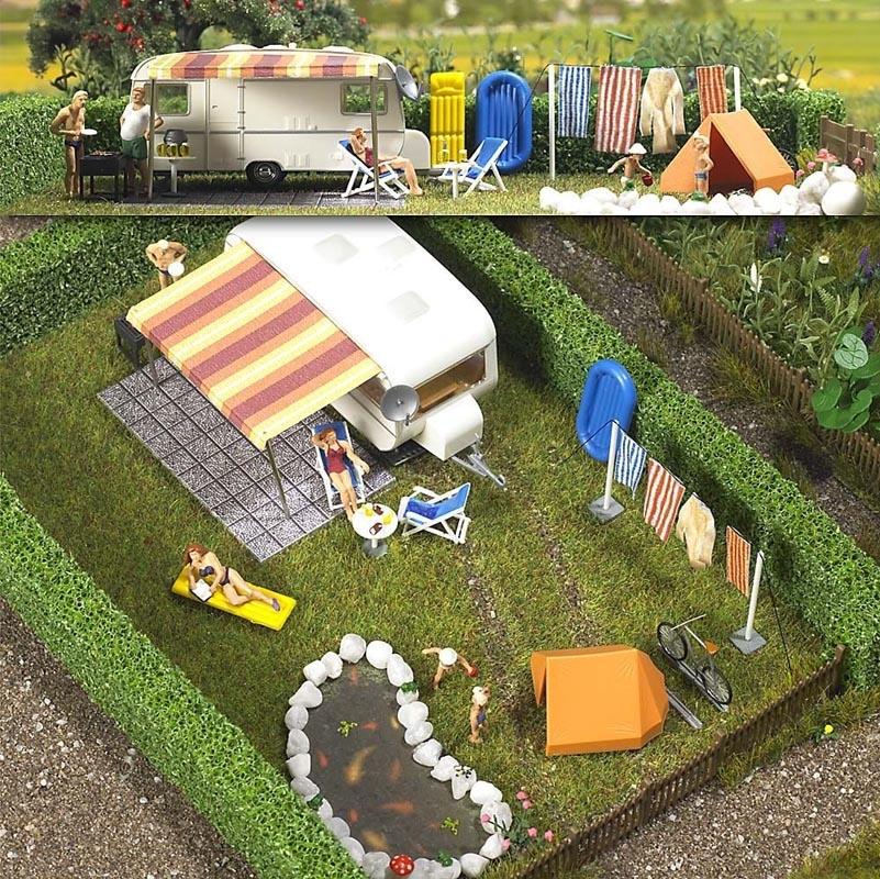 Wohnwagen mit Zubehör Bausatz, Spur H0