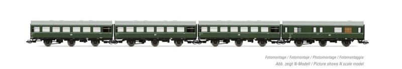 4-tlg. Set Reko-Wagen, 3 dreiachswagen + 1 Packwagen, DR, TT