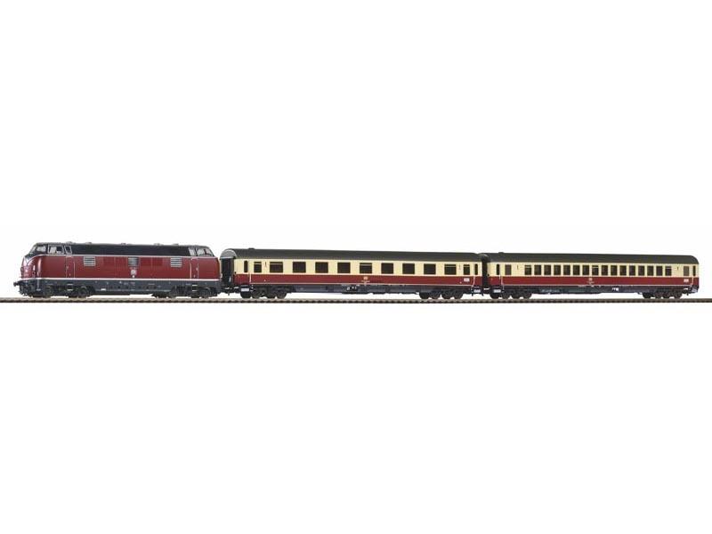 Zugset Merkur Sound-Diesellok BR 221 + 2 Wagen, DB, DC, H0