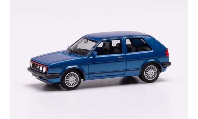 VW Golf II GTI mit Sportfelgen, blaumetallic, 1:87, H0