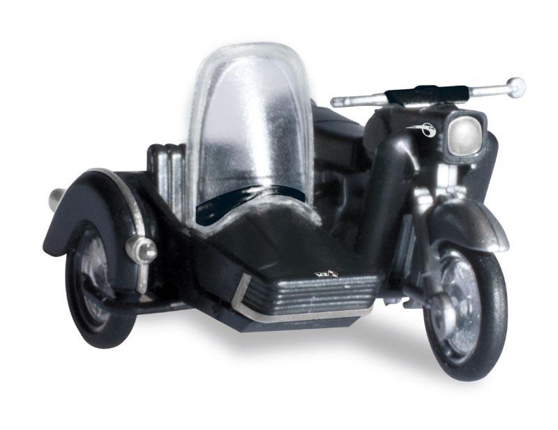 MZ 250 mit Beiwagen, schwarz, 1:87 / H0