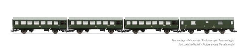 4-tlg. Set Reko-Wagen, 3 zweiachswagen + 1 Postwagen, DR, TT