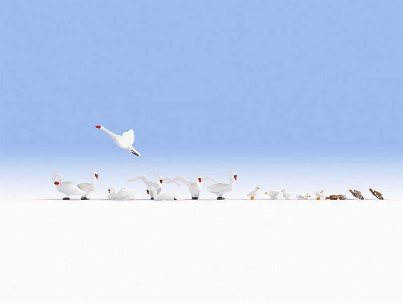 Schwäne und Enten Figuren Spur H0